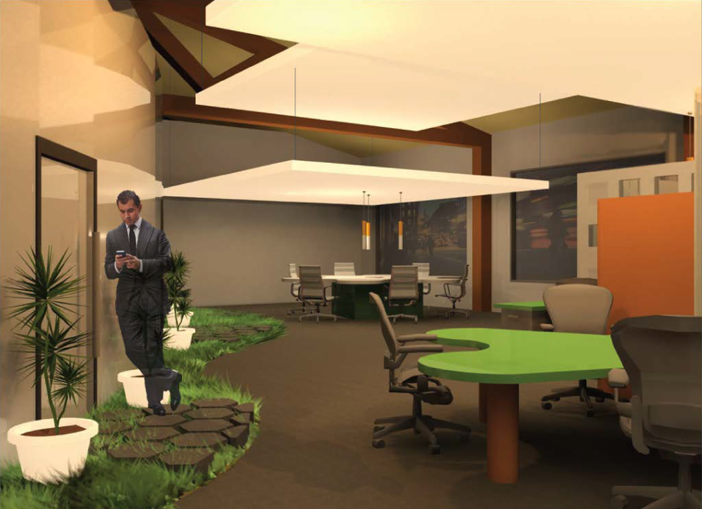 open office space rendering