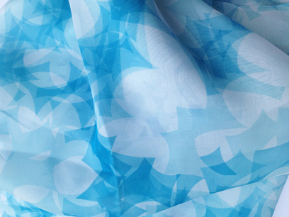 "Blue Puzzle Leaves   Silk Chiffon Scarf  14""x72"""