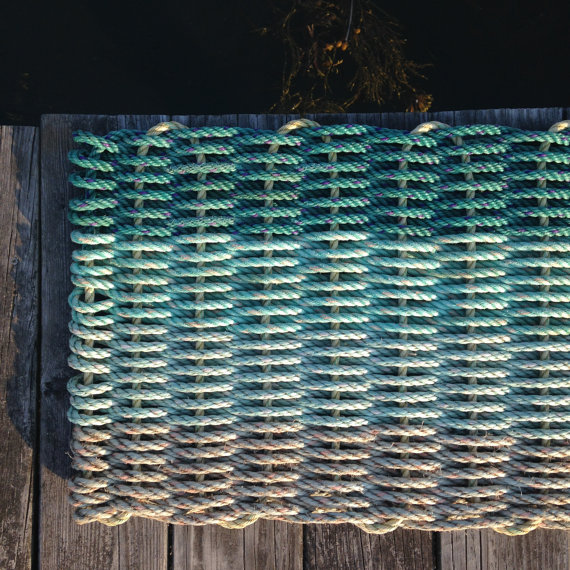 Doormat - recycled lobster rope - Hey Ombre Aqua — Cape Porpoise ...