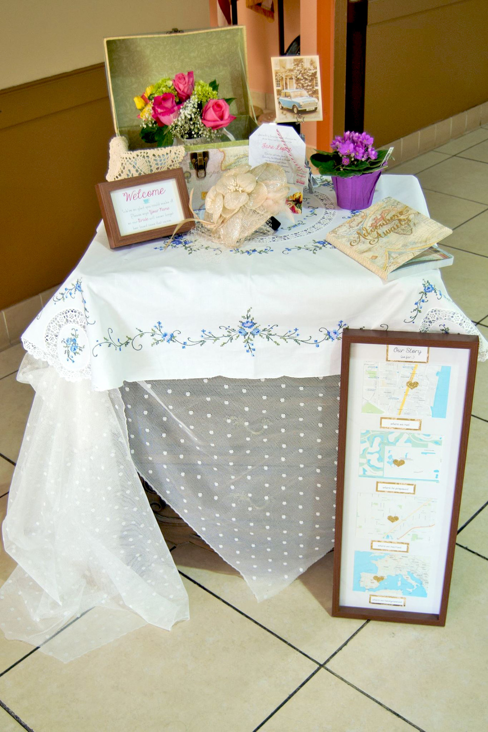 The Entrance Table not only had small, vintage touches, but it had personal touches including the celebrated couple's story and the Bridal Tea Invitation (which was a surprise to the Bride).