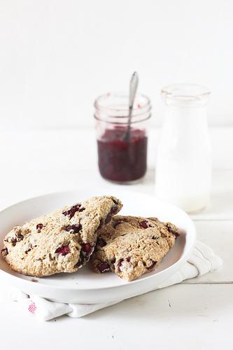 Cherry Rosemary Scones -honey & jam
