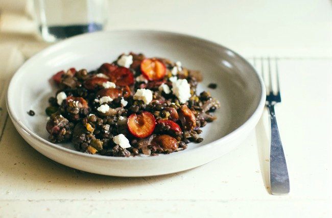 Warm Lentil Salad with Cherries, Pistachios and Goat Cheese- The Vanilla Bean Blog