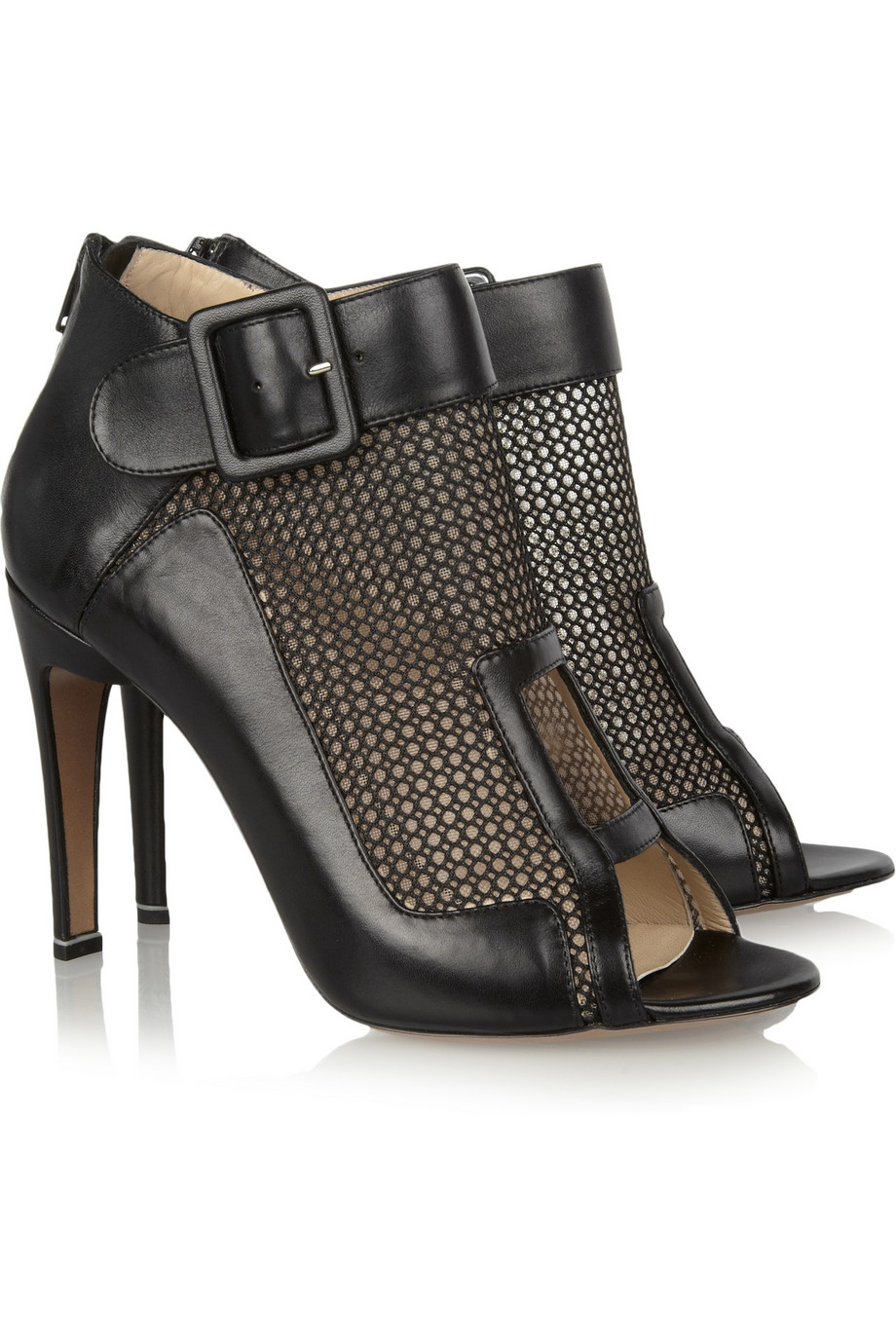 Nicholas Kirkwood Mesh-Paneled Leather Ankle Boots ($300 The Outnet)