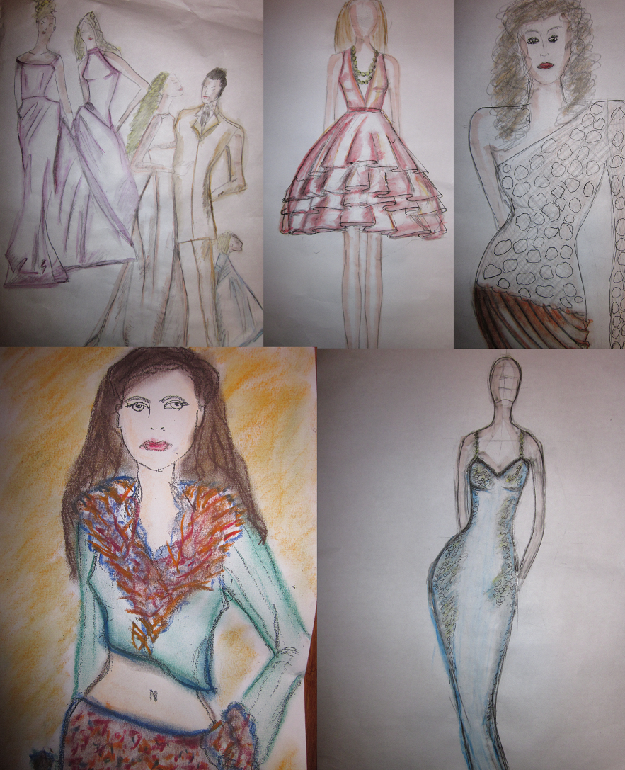 Editor Michelle Larin's attempts at fashion illustration!