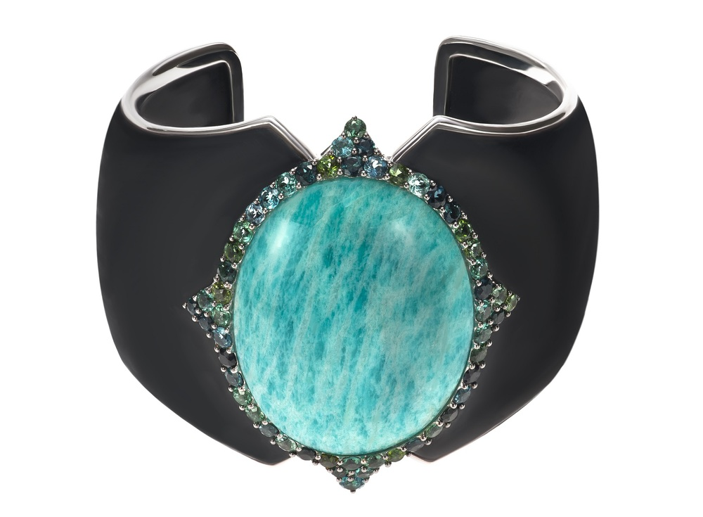 Lagon cuff, amazonite, green tournalines, ebony, white gold.jpg