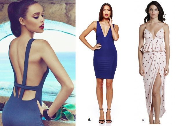 A. Misha Collection Menarco Dress ($150AUD) B. Shona Joy Diamond Sands Draped Maxi Dress ($295AUD)