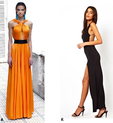 A. Gemeli Power Signature Label's The Meilleur ($399AUD) B.  ASOS Deep Plunge Crystal Strappy Maxi Dress ($93AUD)