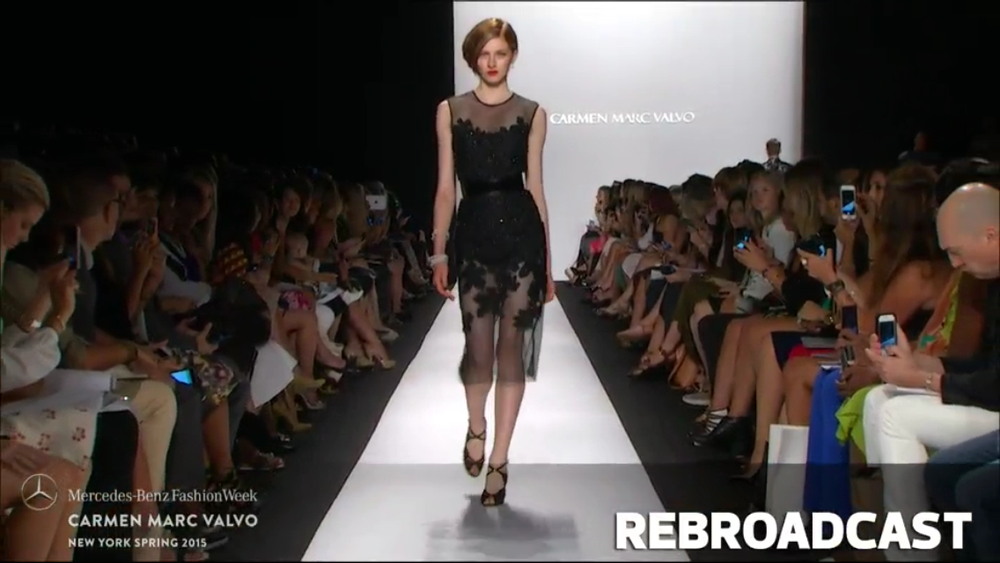 Screenshot taken from rebroadcast of the Carmen Marc Valvo..