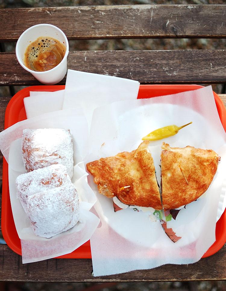 Espresso, New Orleans Beignets, Pastrami Sandwich