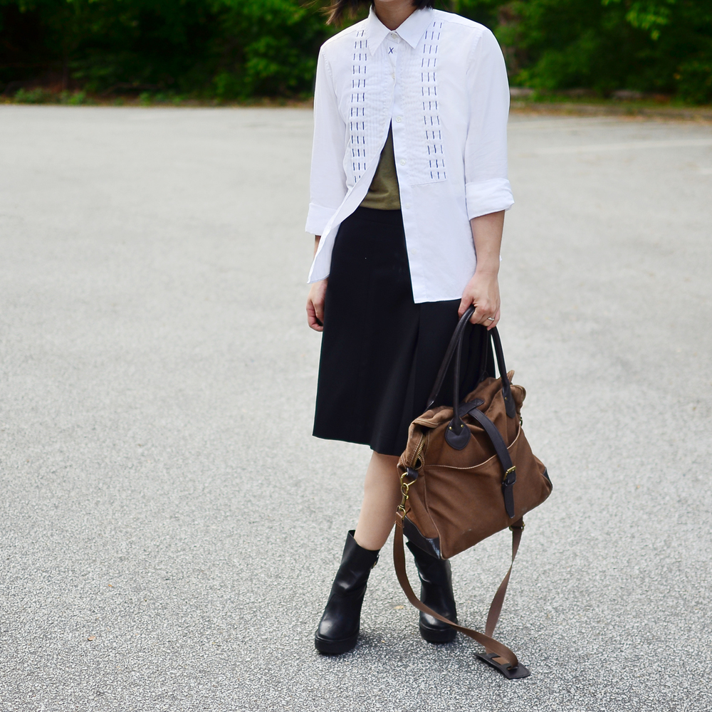 Tibi stitched button down and Theory midi skirt.