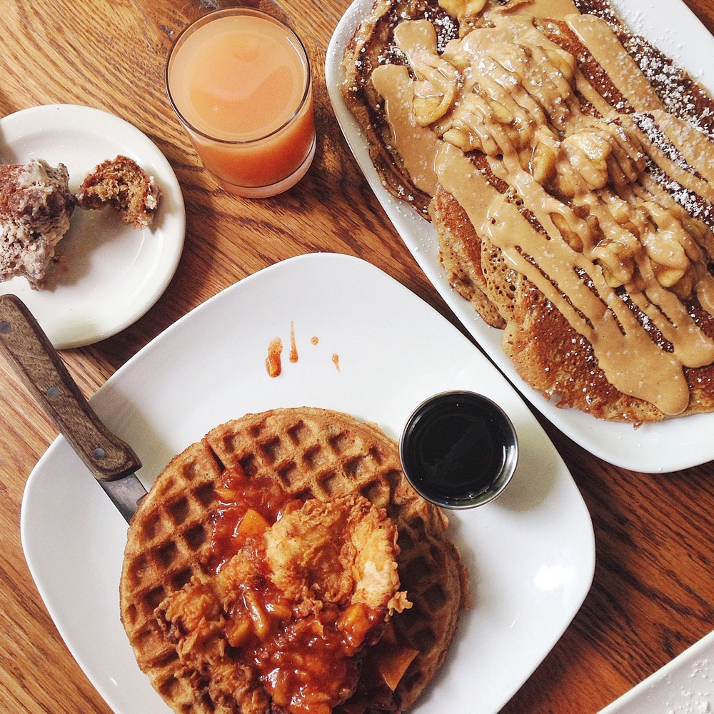 Folk Art - Foul Play (chicken and waffles) and Peanut Butter & Banana Pancakes
