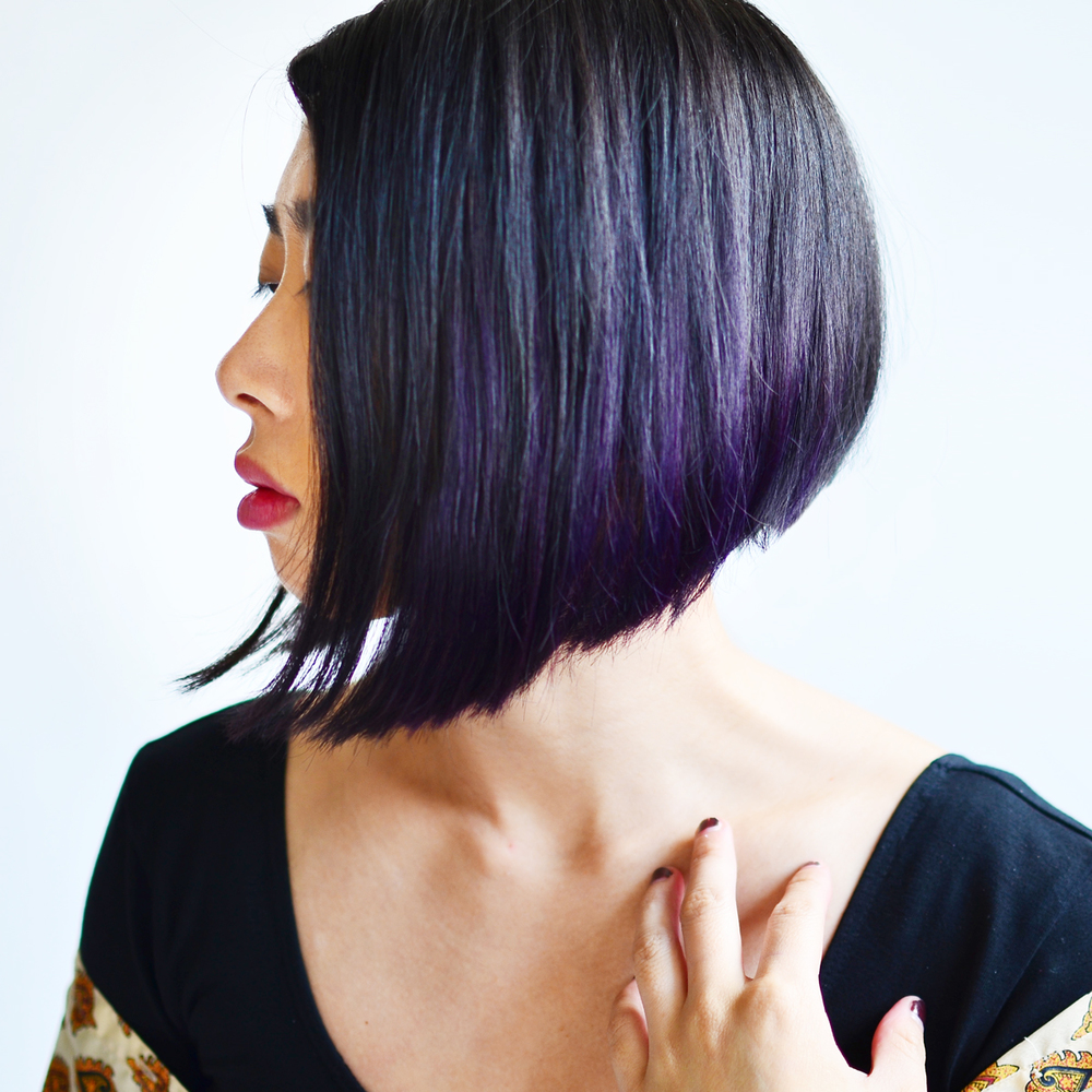 Vintage Salon of Smyrna gave my angled bob purple highlights.