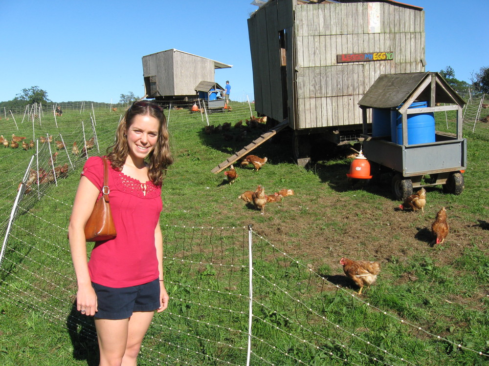 Pippa with Chickens