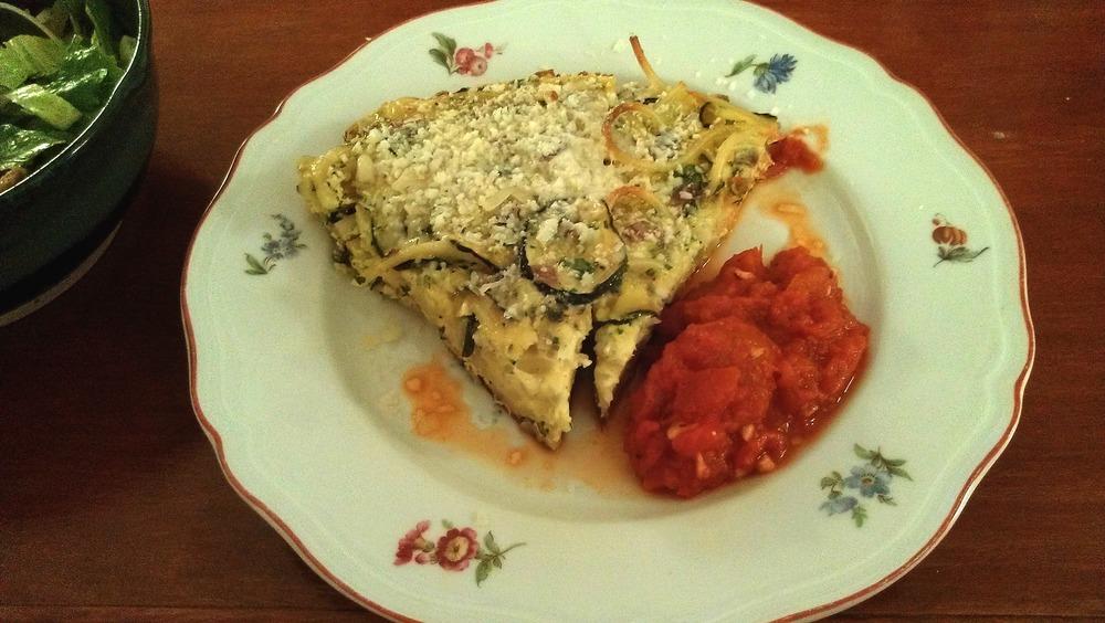 Pasta Frittata with Tomato Sauce
