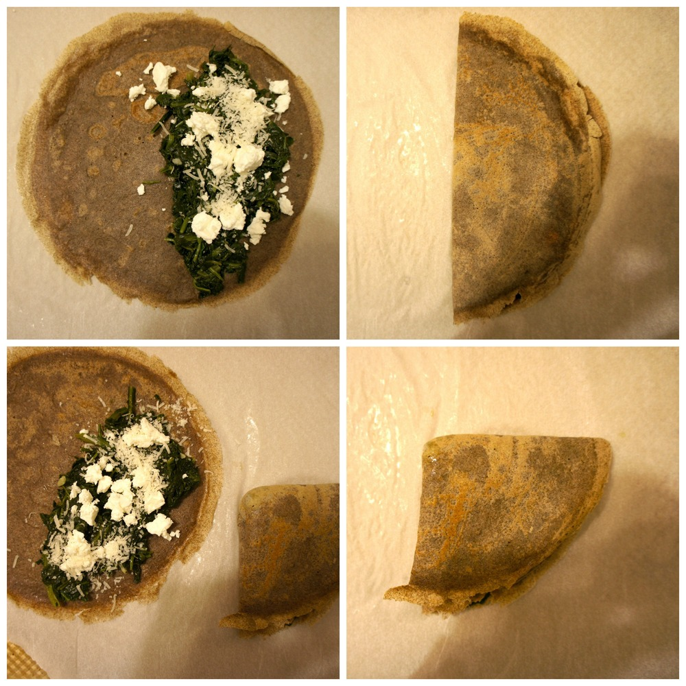 Spinach Filled Crepes