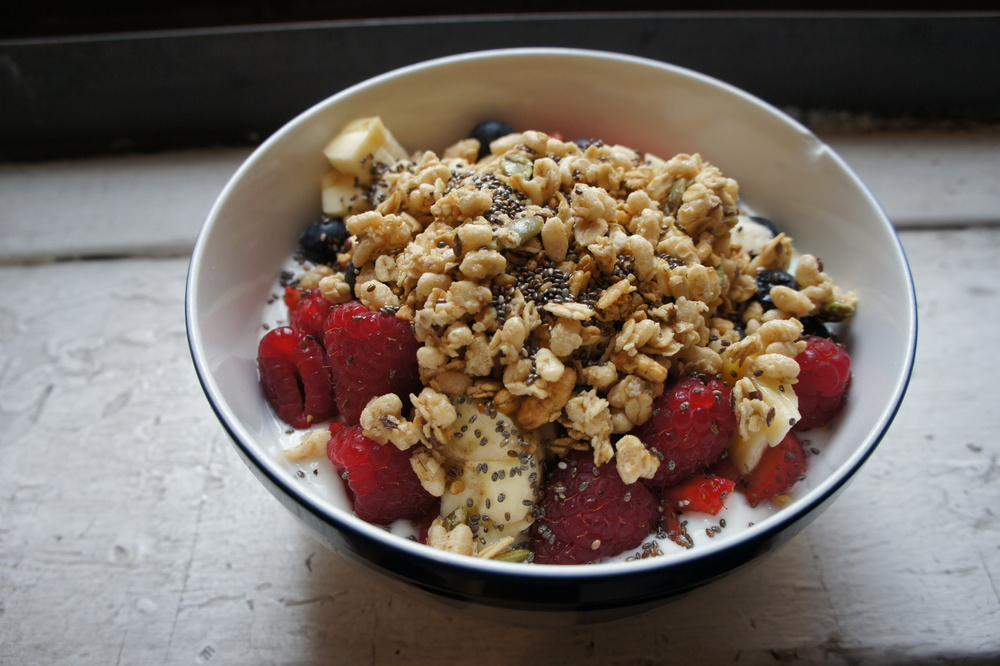 Yogurt with Fruit, Granola and Chia Seeds