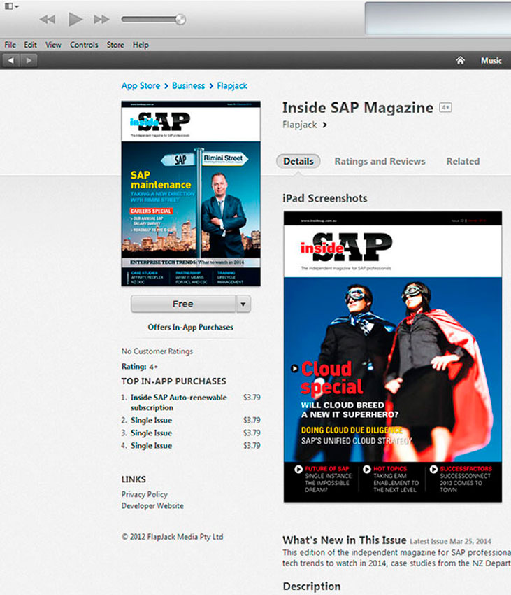 iTunes using our image to illustrate the download version of the magazine