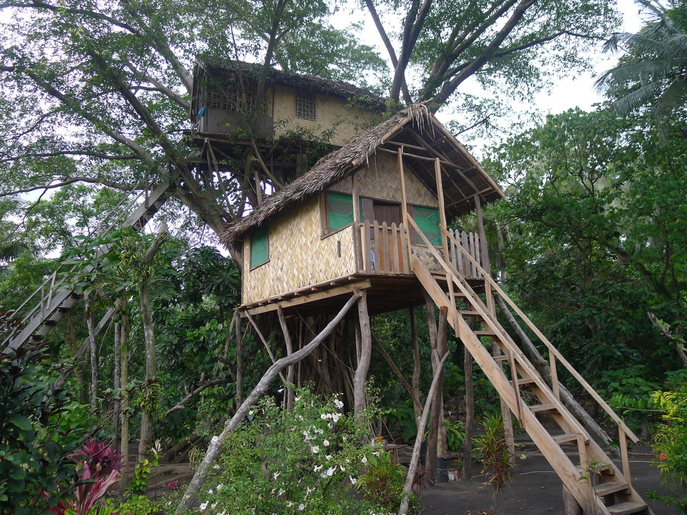 OUR TREEHOUSE HUT.