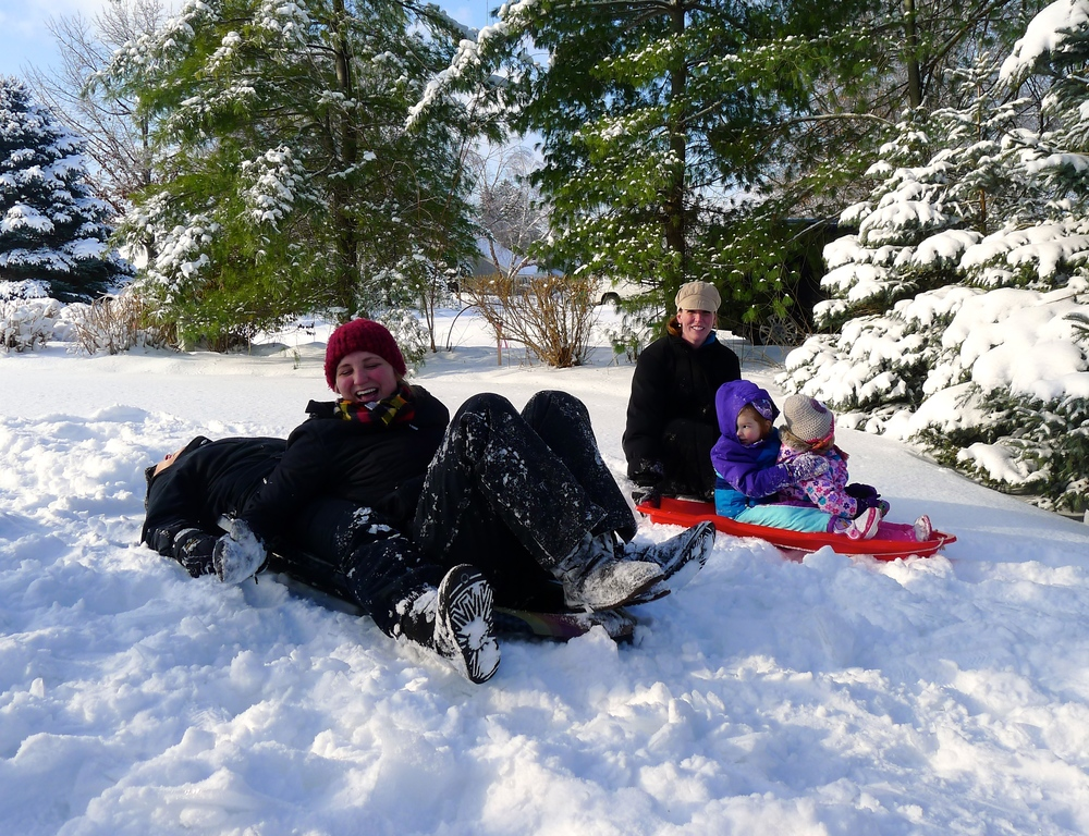SLEDDING ON THE LAKE.