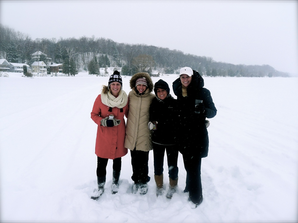 The ladies: Ashley, Sarah, Brittany, and Me standing on frozen Crystal Lake.