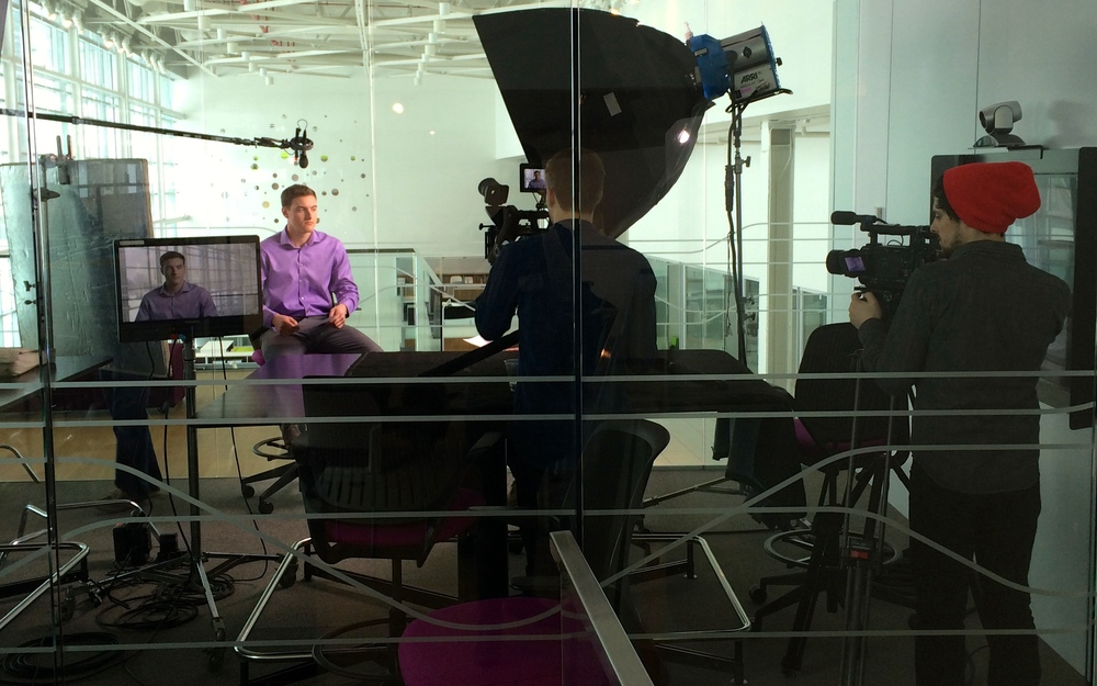 On set at Steelcase Headquarters.