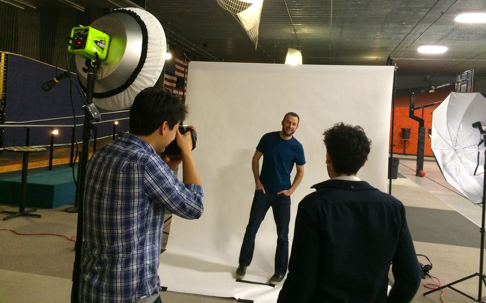 On set of a photo shoot for a print project and web visuals.