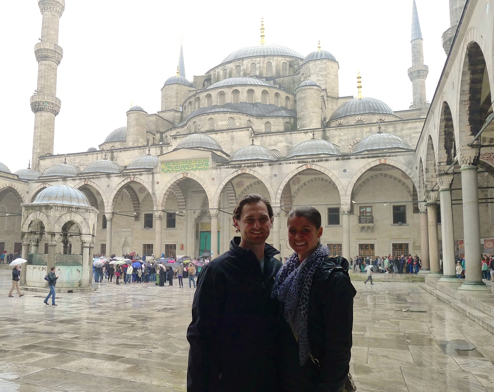 In front of the Blue Mosque in Istanbul, Turkey.
