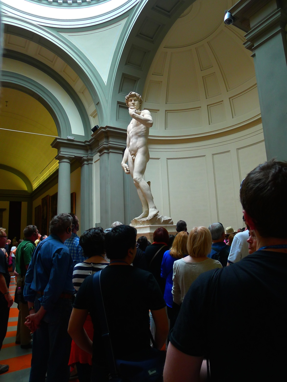 The David inside of the Accademia in Florence, Italy.