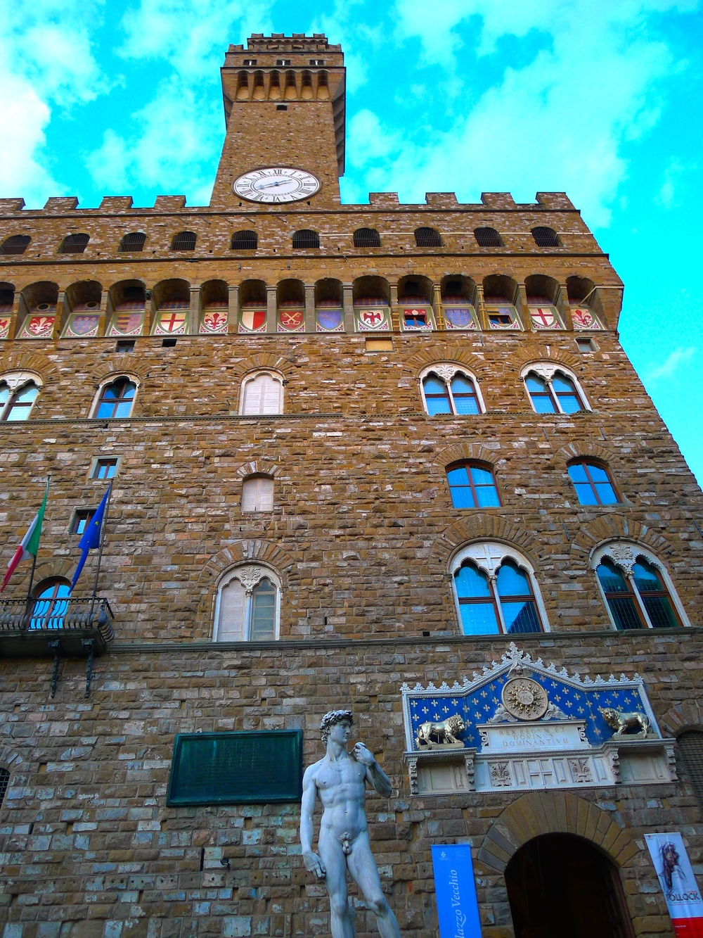 The replica David outside of the Palazzo della Singoria in Florence, Italy.