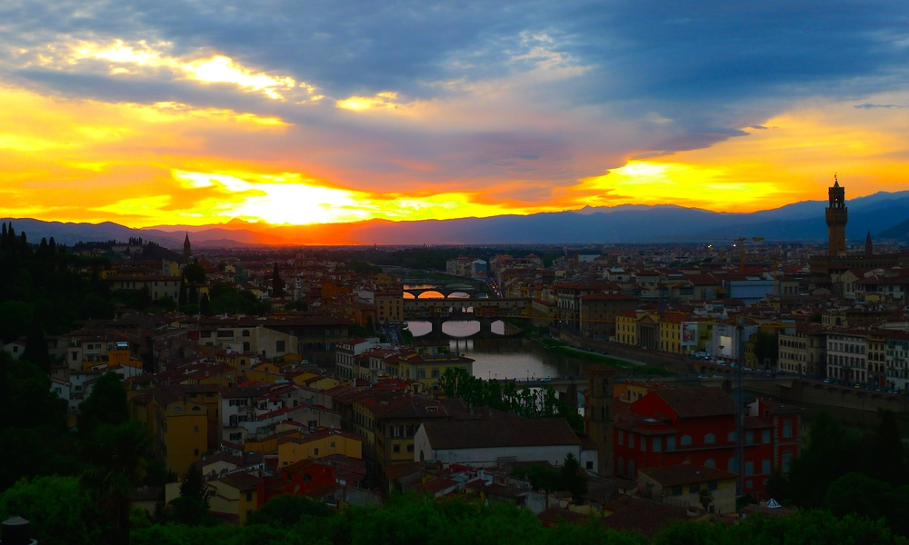 The sunset overlooking Florence, Italy.