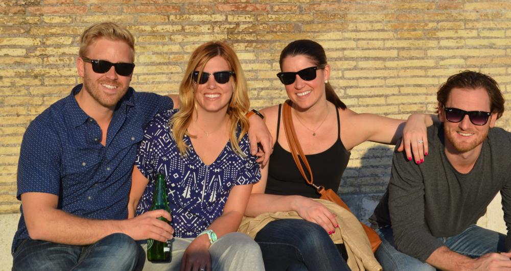 Our crew: Josh Van Vels, Emily Van Vels, Nichole Kladder, and Jeff Kladder. Rome, Italy. 2014.
