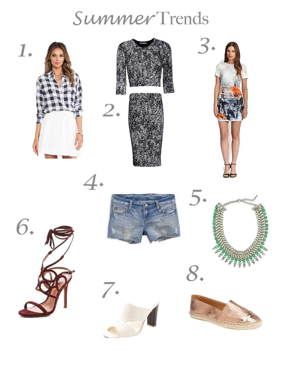 summer trends, equipment gingham blouse, mule, matching separates, Bec and Bridge, Bauble Bar, statement necklaces, denim cutoffs, gap, strappy stilettos, topshop