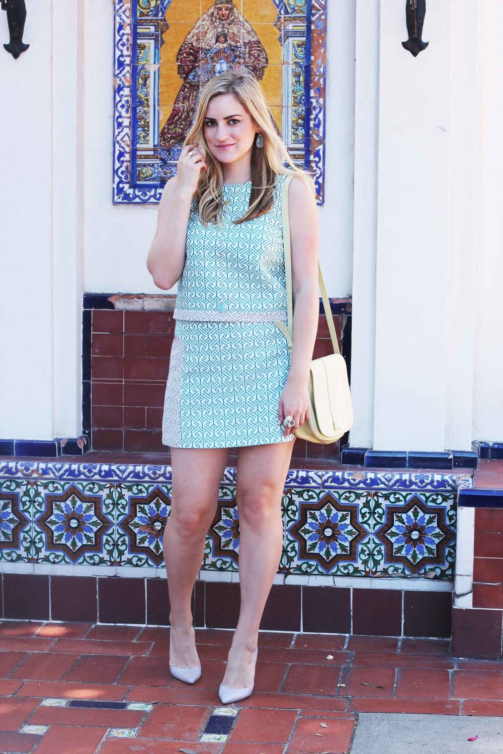 topshop jacquard top and skirt, nordstrom, alexis bittar, stilettos, fashion, ootd, see by chloe, twiggy