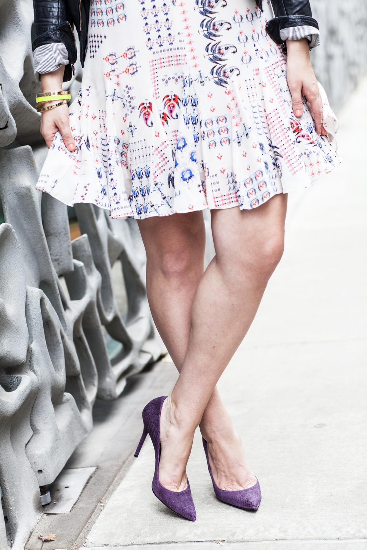 purple rain, lydia hudgens photography, stilettos, Tillie Adelson, Staurt Wietzman, purple, Club Monaco, fall style, Doma leather jacket, NYC, Bond Street, Bluefly