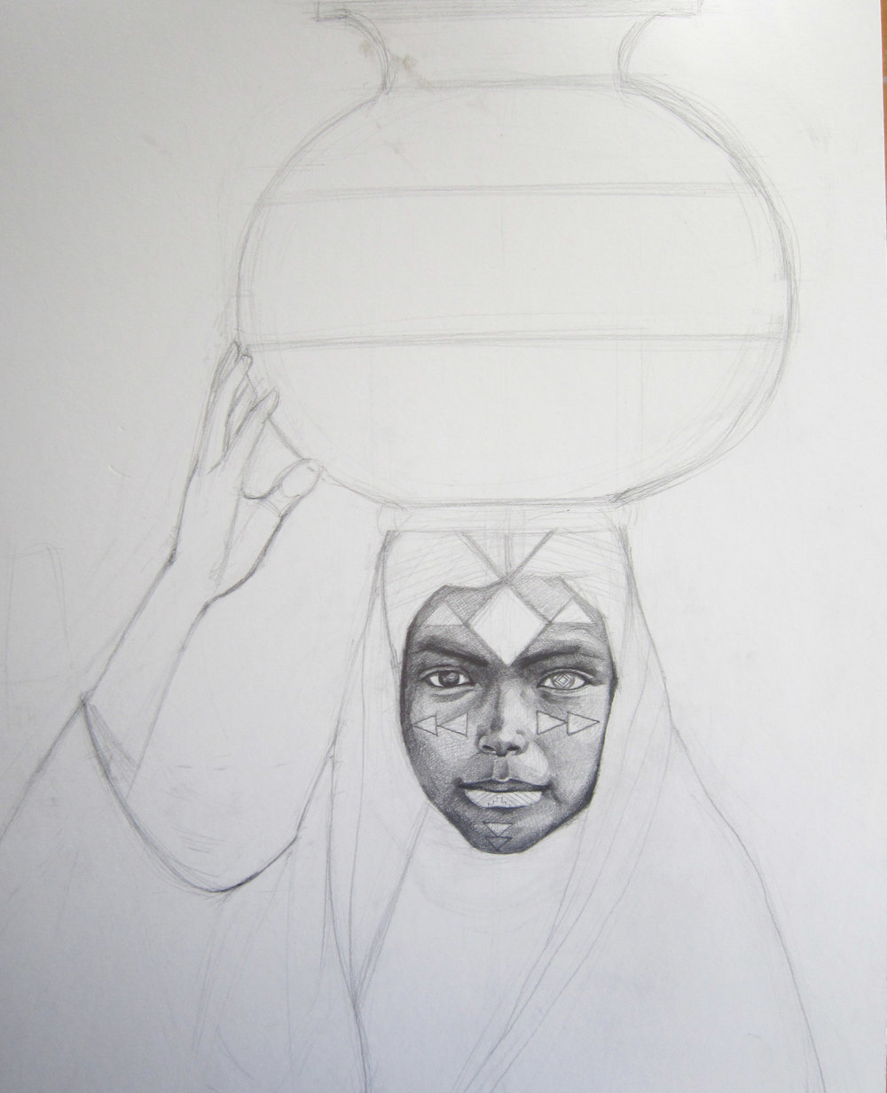 A girl with a water vase colorfreakjina step 1 it all began with this simple sketch reviewsmspy