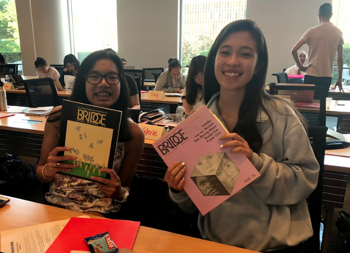 Lea flipping through past issues of  Bridge  magazine with Isabel Veloso (left)!