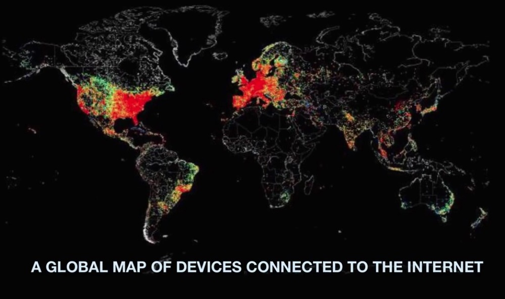 A global map of devices connected to the Internet.