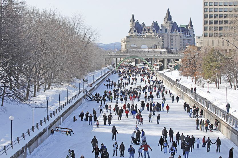 Downtown Ottawa is home to the  largest  naturally frozen skating rink in the world. It's around 4.8 miles long. It's open every year between  January to late February or early March  and attracts 20,000 visitors.