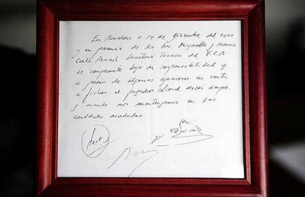 Lionel Messi's first contract was on a napkin.