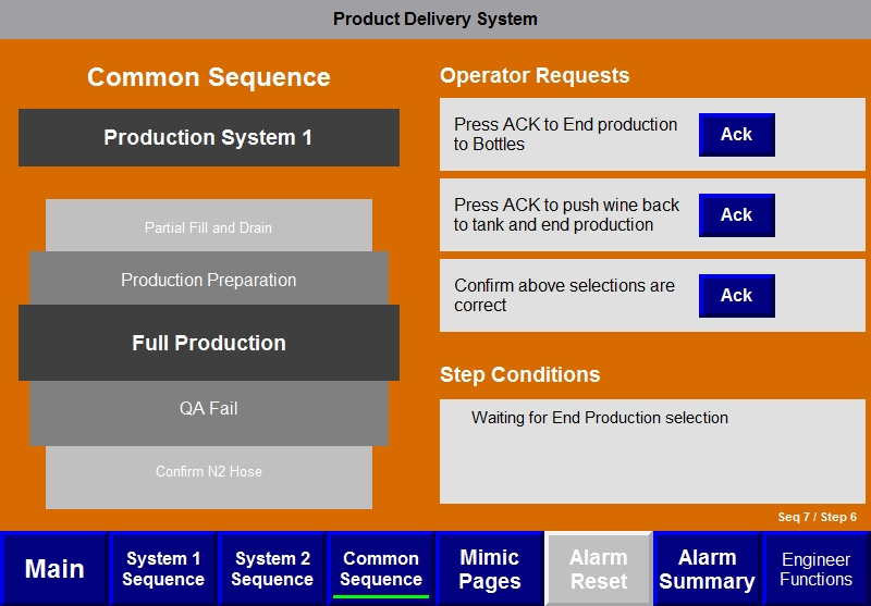 Product Delivery System -  HMI for operators. Clean and easy to understand.