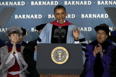 President Obama delivers the commencement address to graduates at all-female Barnard College, on the campus of Columbia University in New York May 14. Op-ed contributor Anne E. Fernald writes: ' Whatever crises higher education faces – and they are many – we will be better armed to face them if we remember why we value the humanities in the first place.' Richard Drew/AP/File