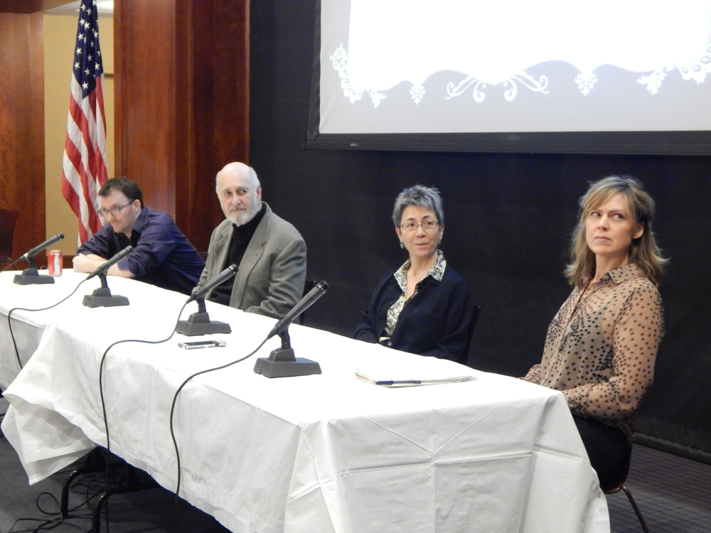 From left to right: R. Luke DuDois, Phillip Lopate, Kimiko Hahn, and CURA Associate Editor Amy Benson.
