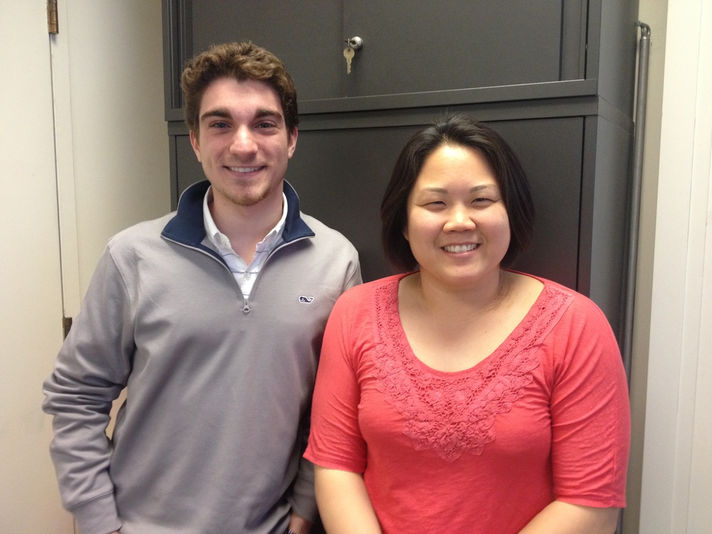 Senior English major David Buchanan, with Professor Julie Kim.