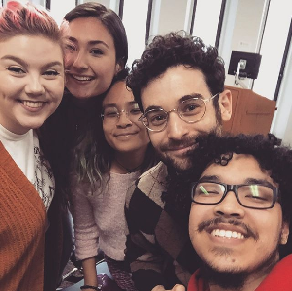 Katie Kudcey, Peri Rohl, Alesha Kilayko, Noah Himmelstein, and Charles Laboy (L-R) take a selfie after a medieval drama workshop and conversation.