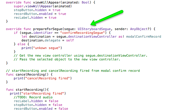 "Use ""prepareForSegue"" to send your current View Controller (""self"") to the destination View Controller (modalConfirmRecord). NOTE: You can set an identifier for a View Controller using the Utility window (not shown in this article). As you can see I set the identifier for my modalConfirmRecord View Controller to ""confirmRecordingSeque"" and use it to selectively send the object to just that View Controller."