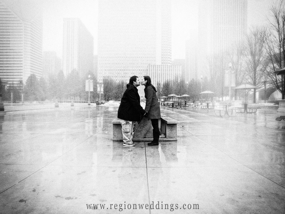 Kissing in the Romantic Chicago Fog