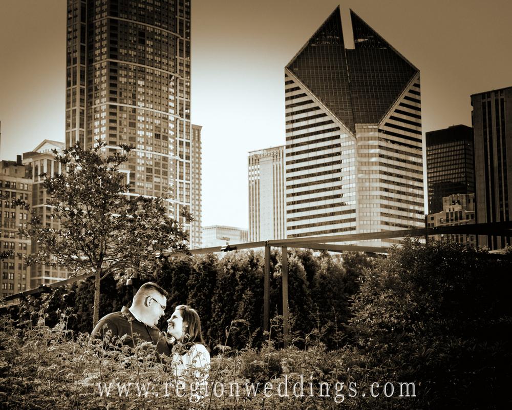 Romantic Kiss in the Millenium Park Garden