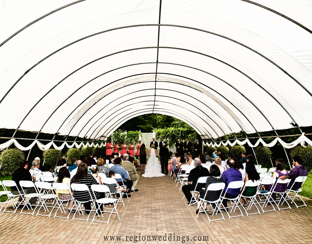 International Friendship Garden outdoor wedding ceremony in Portage, indiana.