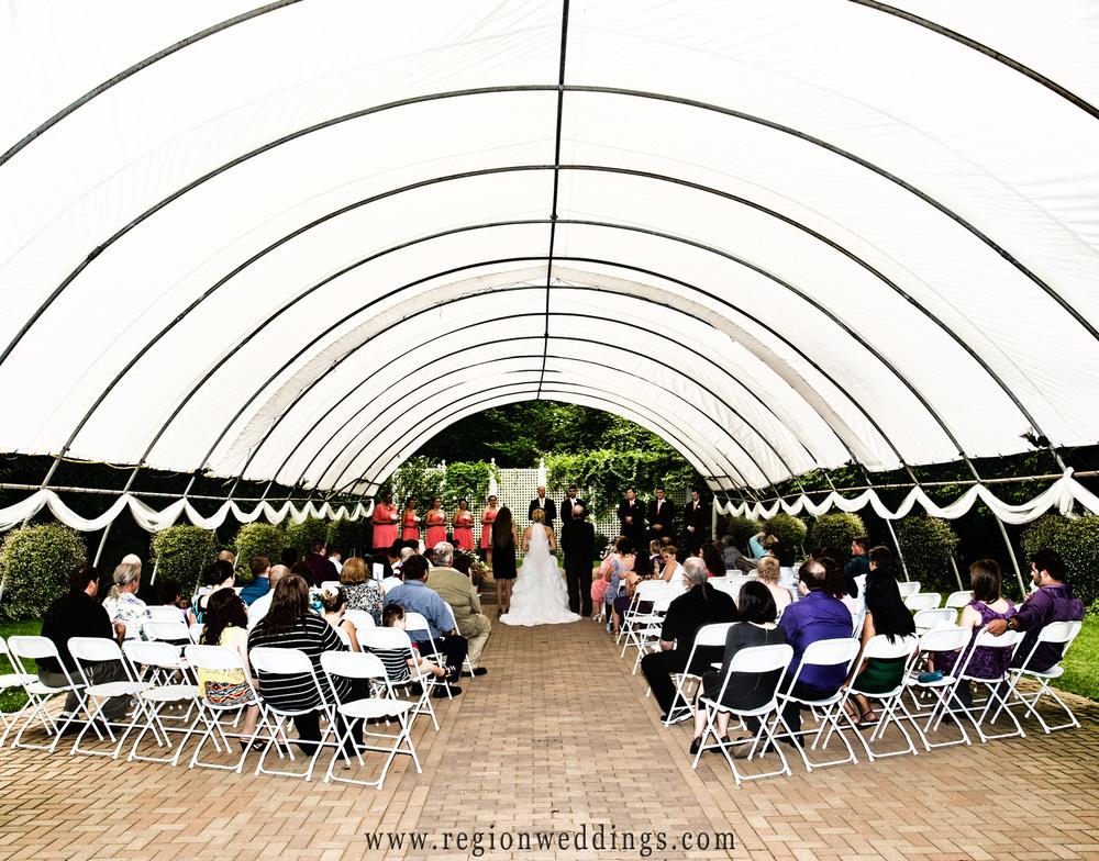 International Friendship Garden outdoor wedding ceremony in Portage, indiana.