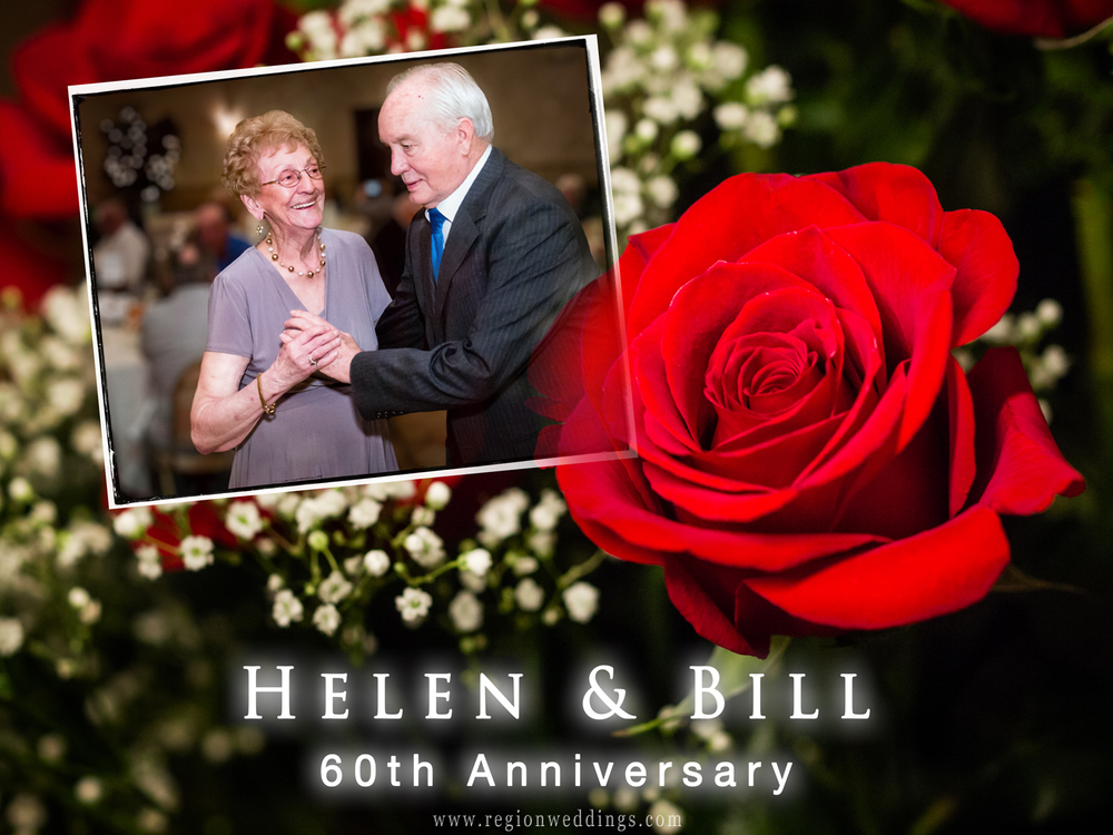 An elderly couple celebrate their 60th Anniversary at Andorra Banquet Hall in Schererville, Indiana.